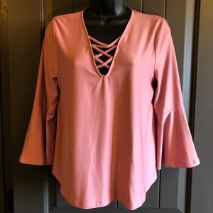 Rue21 Peasant Sleeve Top w/ Criss Cross Front